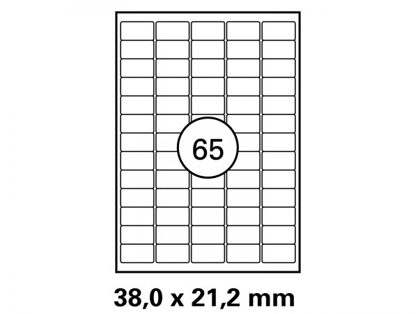 Hftetikett 38 x 21,2 auf DIN A4 Bogenauf DIN A4 Bogen, Format: 38x21,2 mm