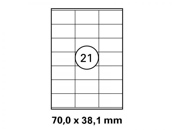 Etiketten auf DIN A4 Bogen, Format: 70x38,1 mm