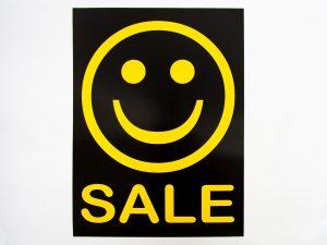 "5 Sale-Plakate 50×70cm ""SALE"" schwarz/gelb"
