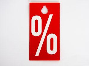 Aktionsetiketten Bügelhänger %