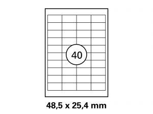 Etiketten auf DIN A4 Bogen, Format: 48,5x25,4 mm