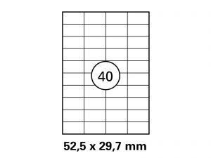 Etiketten auf DIN A4 Bogen, Format 52,5x29,7 mm