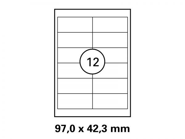 Etiketten auf DIN A4 Bogen, Format 97x42,3 mm