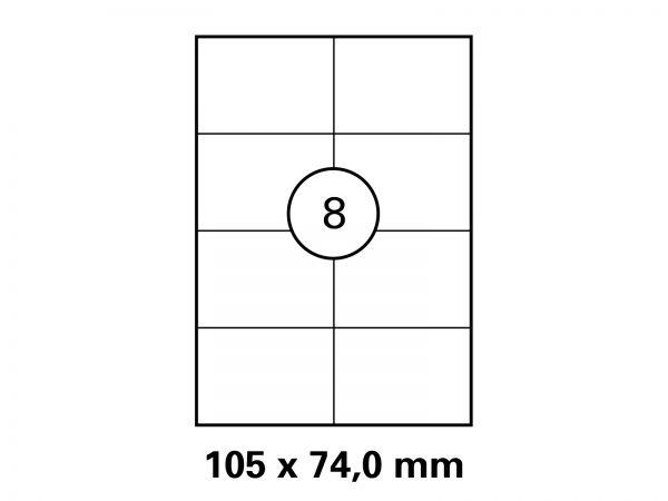 Etiketten auf DIN A4 Bogen, Format 105x74 mm
