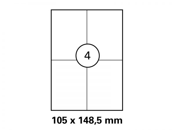 Haftetikett auf DIN A4 Bogen 105x148,5