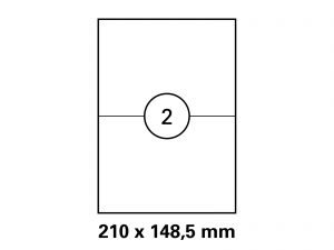 Etiketten auf DIN A4 Bogen, Format 210x148,5 mm