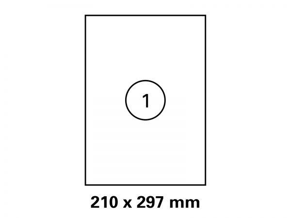 Etiketten auf DIN A4 Bogen, Format 210x297 mm