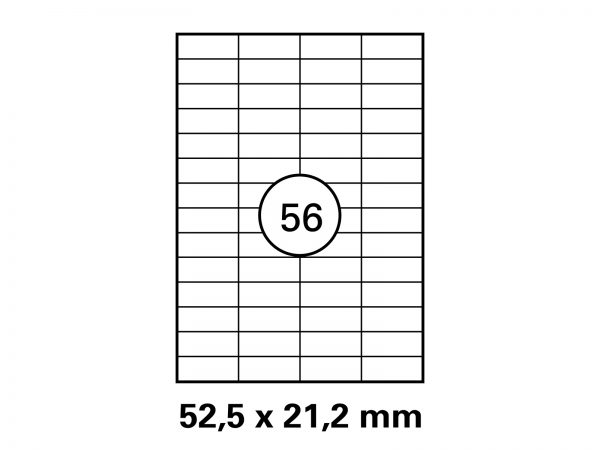 Etiketten auf DIN A4 Bogen, Format: 52,5x21,2 mm