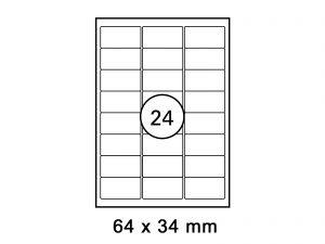 Etiketten auf DIN A4 Bogen, Format: 64x34 mm