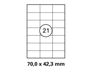 Etiketten auf DIN A4 Bogen, Format: 70x42,3 mm