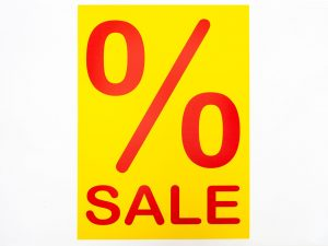 "5 Sale-Plakate 50x70cm ""%Sale"" gelb rot"