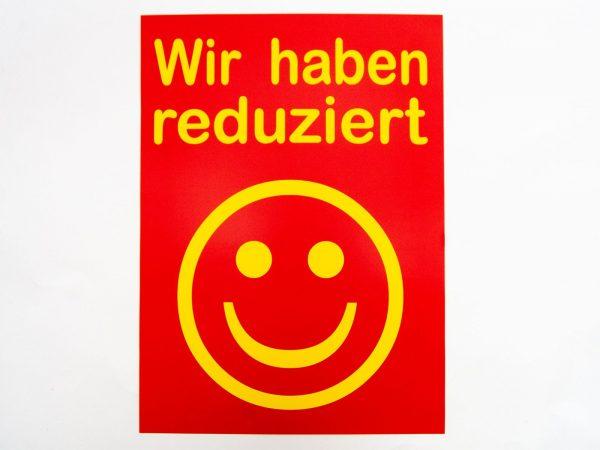 """5 Sale-Plakate """"Wir haben reduziert rot/gelb"""