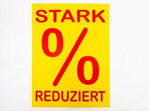 "10 Sale-Plakate DIN A4 ""Stark reduziert"" gelb/rot"
