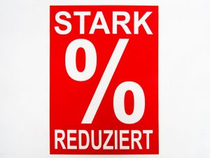 """5 Sale-Plakate """"Stark reduziert"""" rot/weiß"""